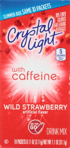 Crystal Light On The Go Caffeine Wild Strawberry, 10 Count Boxes (Pack of 12) (Light On Crystal Fruit Go Punch The)