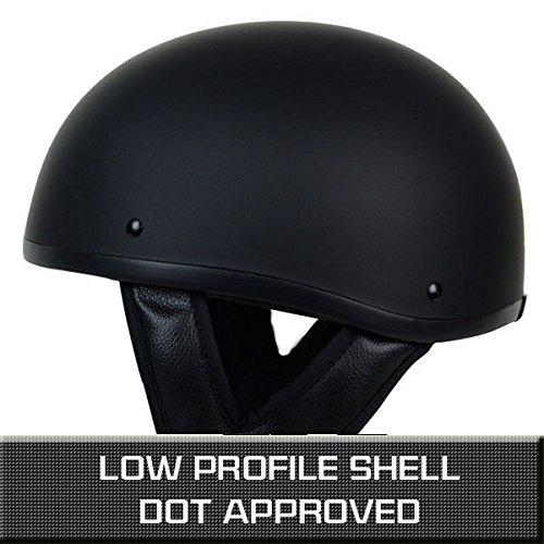 PGR B03 MATTE BLACK LOW PROFILE OLD SCHOOL SKID LIDS HARLEY STYLE DOT APPROVED MOTORCYCLE HALF HELMET CHOPPER CRUISER CUSTOM SHORTY (XS)