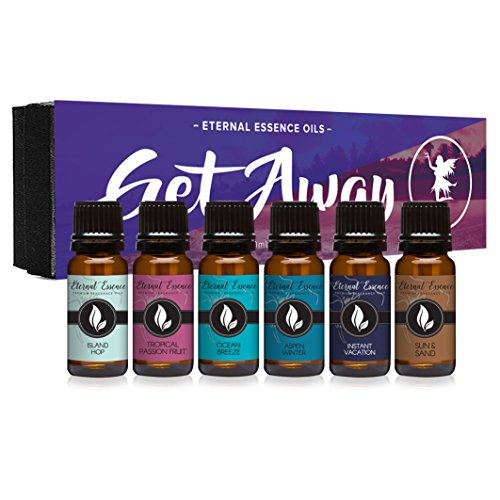 Get Away Gift Set of 6 Premium Grade Fragrance Oils – Island Hop, Ocean Breeze, Tropical Passion Fruit, Aspen Winter, Instant Vacation, Sun & Sand – 10Ml – Scented Oils