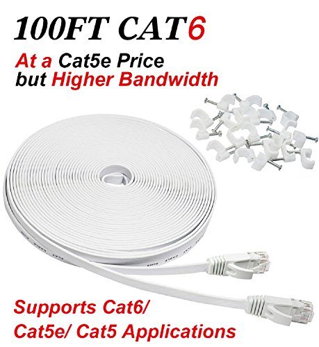 Cat6 Ethernet Cable with Cable Clips, [100ft] Flat - Cable Modem Voice Over Ip