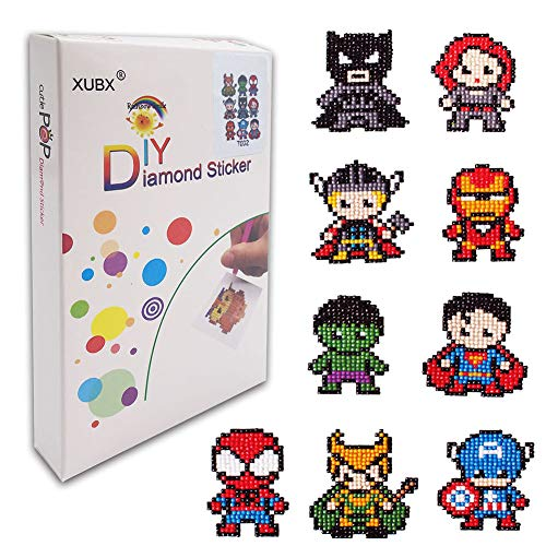 XUBX 5D DIY Diamond Painting Kits for Kids, Mosaic Sticker by Numbers Kits Arts and Crafts Set for Children (Hero) -