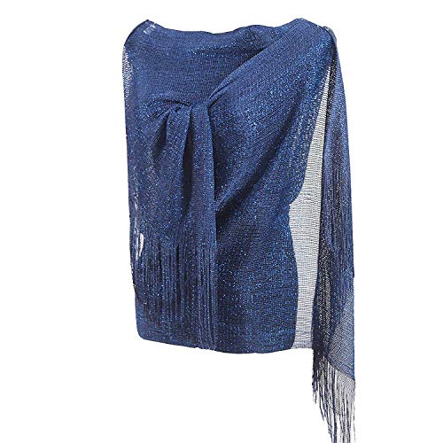 1920s Gatsby Weddings Evening Scarfs,Sheer Glitter Sparkle Piano Shawl Wrap (Navy Blue)
