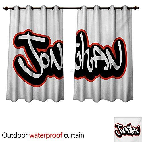 WilliamsDecor Jonathan 0utdoor Curtains for Patio Waterproof Teenage Boys Name Graffito Urban Arts Illustration Youthful Modern W108 x L72(274cm x 183cm) ()