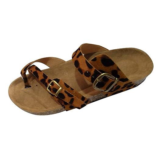 Bestow Moda para Mujer con Punta de Leopardo y Dedo del pie Estampado Hebilla de cinturón único serrín Sandalias Planas: Amazon.es: Ropa y accesorios