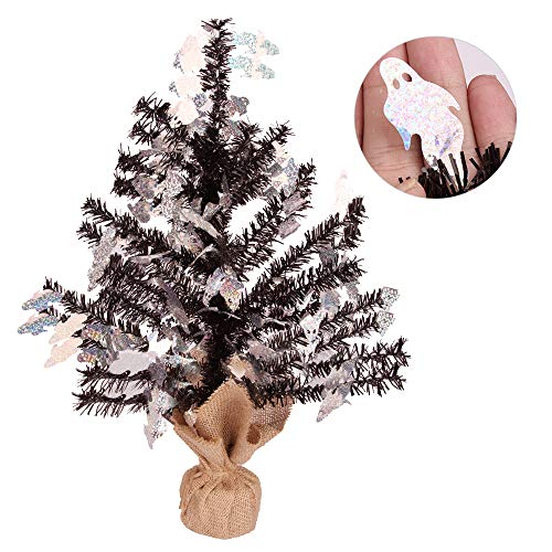 Joy-Leo Shiny Ghost Tabletop Halloween Christmas Tree with Reflective Sequins, 1 Foot Black Tinsel Christmas Tree for Halloween Decoration with Burlap Stand