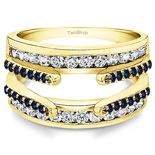(TwoBirch 0.49 ct. Diamonds and Sapphire Combination Cathedral and Classic Ring Guard in 14k Yellow Gold (1/2 ct. twt.))