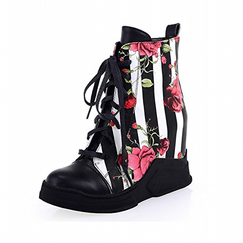 Carolbar Womens Fashion Floral Print Vertical Stripe Lace up Wedge Hidden Heel Short Boots Black KyhBig