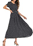 Romacci Women Polka Dot Long Dress Short Sleeves High Waist Tie A-Line Vintage Maxi Dress (L, Black)