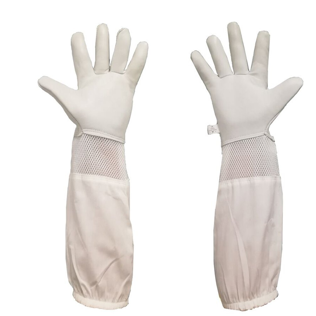 Luwint Premium Goatskin Beekeeping Gloves, Long Bee Beekeeper Gloves with Ventilated Mesh Between Canvas Sleeve and Elastic Cuffs (Medium, Gray/White)
