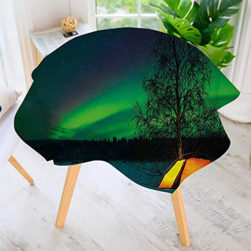 UHOO2018 Easy-Care Cloth Tablecloth Round-Camping Tent Under Magnetic Field Nature Picture Lime Green Dark Blue Earth Yellow Great for Buffet Table, Parties, Holiday Dinner & More 55