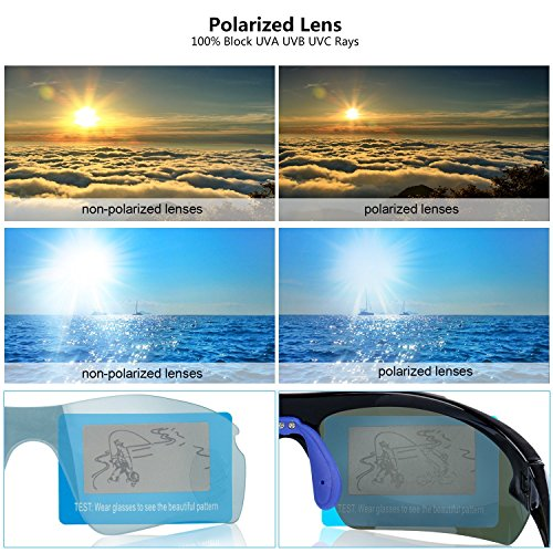 Polarized Sports Sunglasses Cycling Baseball Running Fishing Driving Golf Hiking Biking Outdoor Glasses with 5 Interchangeable Lenses Motorcycle Bicycle Riding Goggles for Men Women (yellow & orange) by LOVE'S (Image #8)