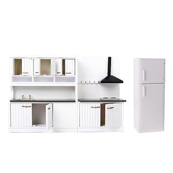 IPOTCH 1:12 Casa de Muñecas Miniatura Set de Muebles de Cocina Gabinete y Congelador - Juguete para Niños