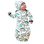 HappyMA Infant Baby Girl Boy Sleepwear Cute Cartoon Dinosaur Pajamas Gown Swaddle Hats Outfits (Green, 6-9 Months)