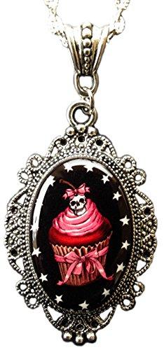Alkemie Gothic Pink Cupcake Cameo Pendant Necklace