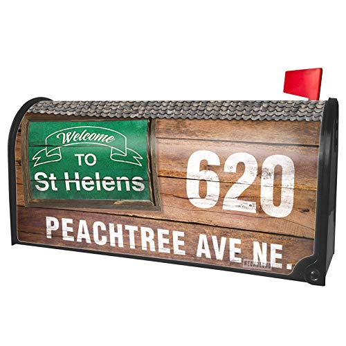 NEONBLOND Custom Mailbox Cover Green Sign Welcome to St Helens -