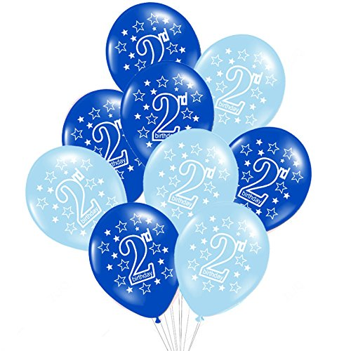 Yalulu 20Pcs 12inch Boy Girl 1st/2nd Happy Birthday Latex Balloons Love Star Pattern for Baby Shower Kids 1/2 Years Old Birthday Party Supplies (2nd Blue)