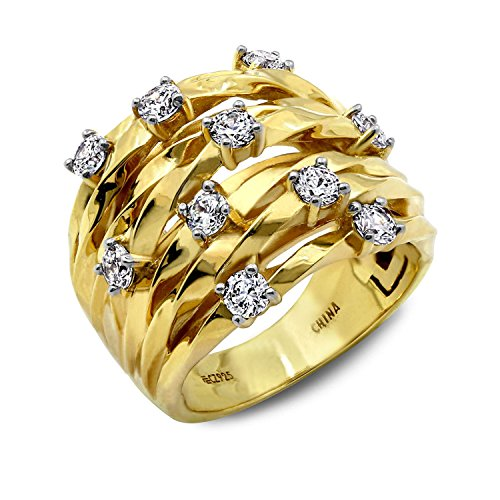 - Diamonbliss 14K Yellow Gold- Clad Sterling Silver Cubic Zirconia Scattered Stones Ring, Size-9