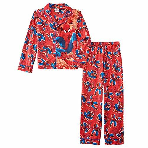 Marvel Boys Red Ultimate Spider-Man Pajamas Go Spidey Flannel Sleepwear Set 10