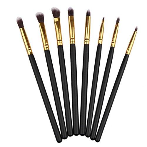 8pcs Eye Makeup Brushes Set Eyeshadow Lipstick Powder Brush Tool (Black) - 2