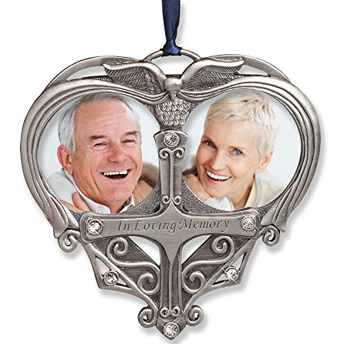 Memorial Photo Ornament - Double Picture Opening - In Loving Memory Christmas Ornament - Loss of a Loved One Gift - Remembrance Ornament - Bereavement (Engravable Picture Frames)