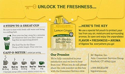 Bigelow Classic Lemon Ginger Herbal Tea Plus Probiotics 18 Bags (3 Pack) by Bigelow Tea (Image #4)