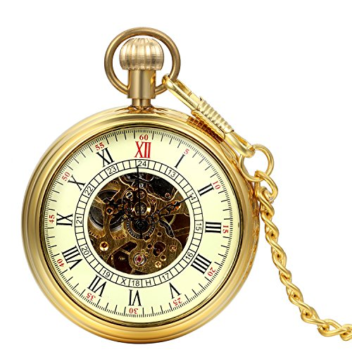 (JewelryWe Men's Open Face Gold Tone Skeleton Hand Wind Mechanical Pocket Watch Roman Numbers 13.8 Inch Chain )