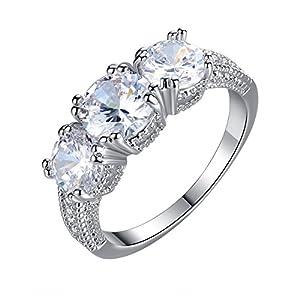 Followmoon 18K Rose/White Gold Plated Yellow/White Shinning Cubic Zirconia Engagment Wedding Rings for Women (White Gold, 7)