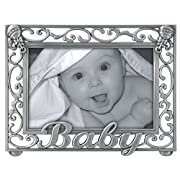 Malden International Designs Baby Scroll Metal Picture Frame, 4x6, Silver