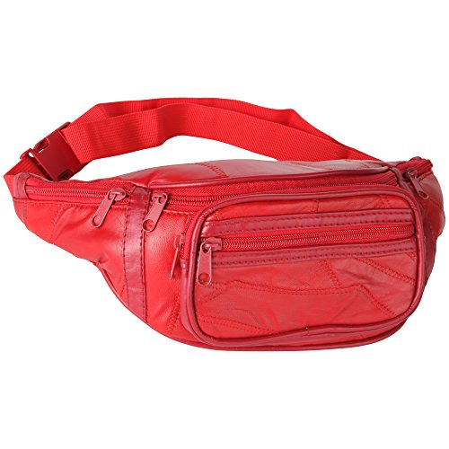 Home-X Genuine Leather Lambskin Waist Bag, Fanny Pack (Red) by Home-X