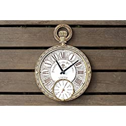Pocket watch HANDCRAFTED wall clock unique large white clock face wooden wall clock (personalized gift)