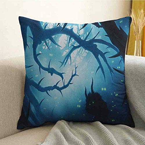 Mystic Silky Pillowcase Animal with Burning Eyes in The Dark Forest at Night Horror Halloween Illustration Super Soft and Luxurious Pillowcase W24 x L24 Inch Navy -