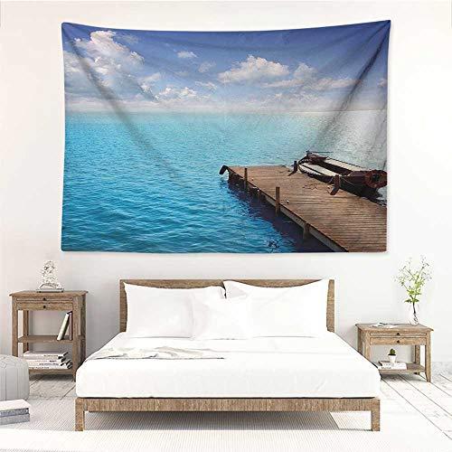 alisos Summer,Wall Decor Tapestry Wooden Deck on Charm Lake Holiday Europe Coast Tranquil Sea View 72W x 54L Inch Tapestry Wallpaper Home Decor Violet Blue Turquoise Redwood