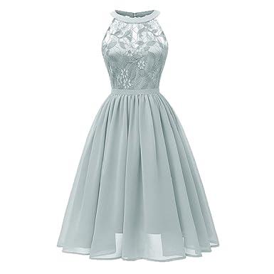 bccc348448706d Spitzen Kleid Damen Elegant Ärmellos Cocktailkleid Party Ballkleid  Bluelucon, Neckholder Brautjungfernkleid Kleider Rockabilly Spitzenkleid  Sommerkleid ...