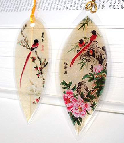 Lucore Red Birds Pair Leaf Bookmarks -Made of Real Leaves - 2 Pcs Lucky Charm, Ornament, Hanging & Wall Decor, Art Decoration Photo #6