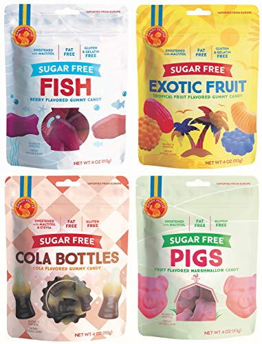 Candy People Sugar-Free Swedish Gummy Candy - Gluten-Free, Fat-Free Gummies - Cola Bottles, Marshmallow Pigs, Exotic Fruit, Fish (Difference Between Light And Dark Corn Syrup)