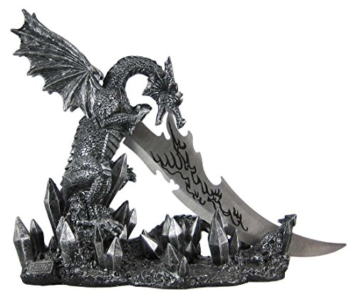 (Wicked Fire Dragon Fantasy Letter Opener Knife Dagger and Holder Base)