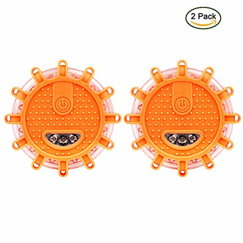 Road Flares, Hompie LED Safety Light with 9 Modes, Emergency Warning Light Road Beacon with Magnetic Base, Batteries Powered for Car Truck Bike Boat, etc (2 Pack, Orange)