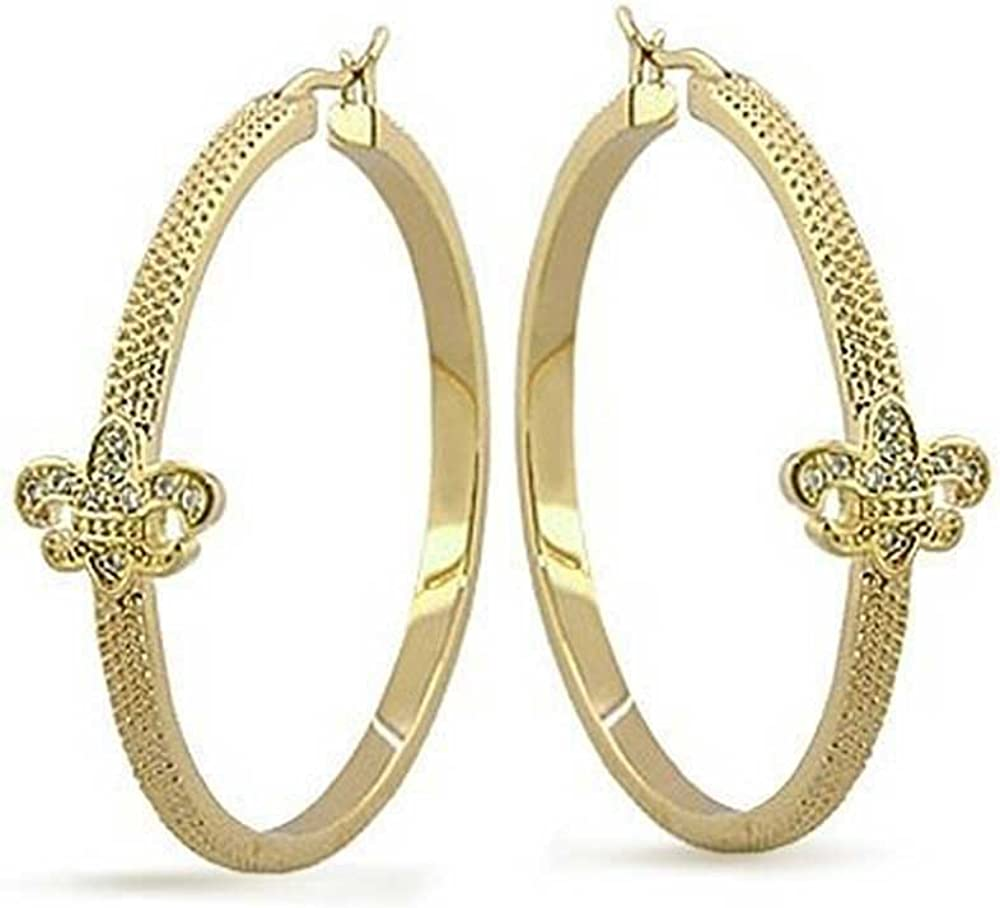 Large motif gold plated earrings