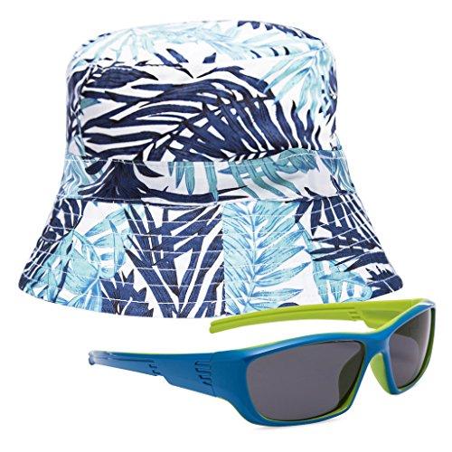 EYEGUARD UV400 Boy's Kids Sunglasses and Sun Hats Combo Children Beach Cap(5-12 years - And Hats Sunglasses