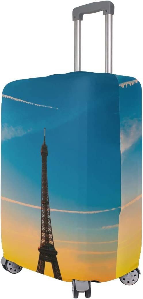 FOLPPLY The Paris Eiffel Tower Luggage Cover Baggage Suitcase Travel Protector Fit for 18-32 Inch