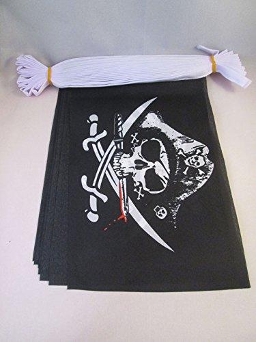 AZ FLAG Pirate Deadman Chest Triconner 6 Meters Bunting Flag 20 Flags 9'' x 6'' - Pirates String Flags 15 x 21 cm