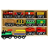 Kurtzy 13 Piece Wooden Magnetic Train Set with Wooden Storage Case - Wooden Toy Train Collection for Toddler Boys and Girls - Train Set Accessory