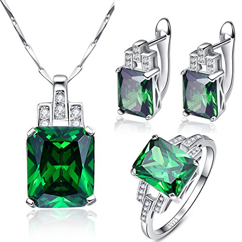 BONLAVIE Created Emerald Sets Engagement Ring Necklace Earrings 925 Sterling Silver Bridal Sets for Women 9