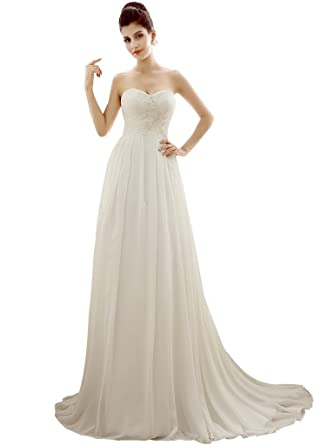 Edith Qi Womenu0027s Sweetheart Simple A Line Chiffon Wedding Dresses Bridal  Gowns