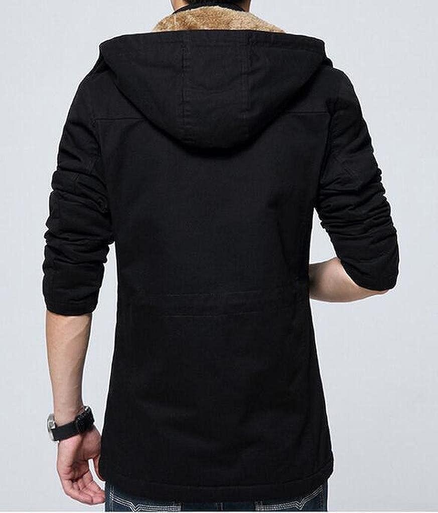 ARTFFEL-Men Thick Plus Size Fleece Lined Hoodie Parka Jackets Trench Coats