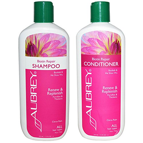 Aubrey Biotin Repair Shampoo and Conditioner with Panax Ginseng, Baobab Seed Oil, Horsetail, Sage Leaf Extract and Essential Fatty Acids, For Hair Loss or Fine, Thinning Hair, 11 fl. oz. each