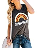 Nlife Women Good Vibes Tank Blouse Round Neck Sleeveless Rainbow Casual Ladies Waistcoat Tank Tops for Women