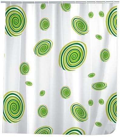Colores Verde//Blanco Wenko 19116100 Circles Cortina de Ducha de pl/ástico 180 x 200 cm