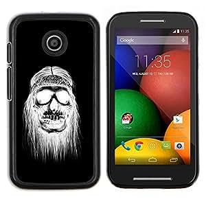 Cubierta protectora del caso de Shell Plástico || Motorola Moto E ( 1st Generation ) || Negro Cráneo del Hippie Muerte Blanca @XPTECH