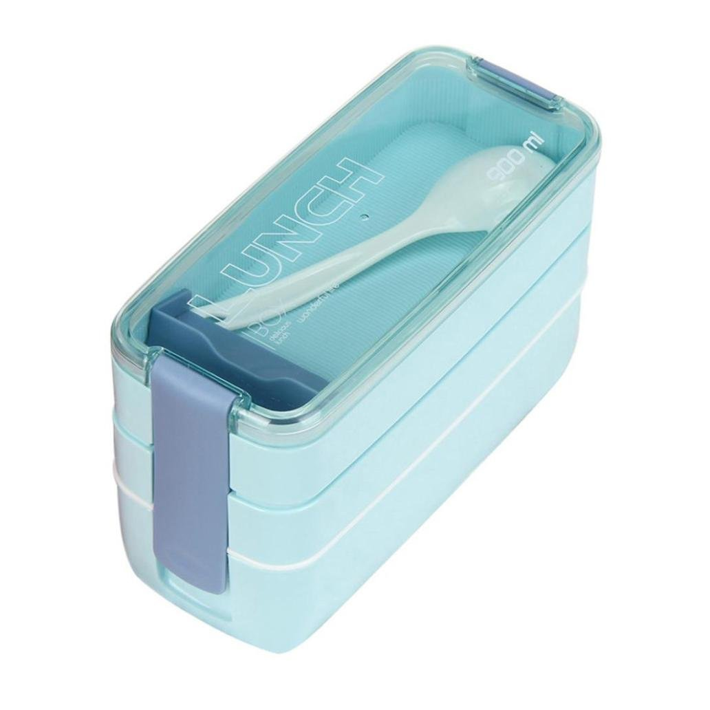 newkelly 900 ml portátil 3 capa Bento caja de almuerzo de horno microondas alimentos almacenamiento: Amazon.es: Hogar